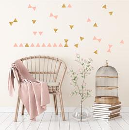 Stickers muraux triangles roses et dorés Pom le bonhomme