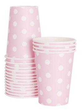 12 gobelets fond rose pastel pois blancs