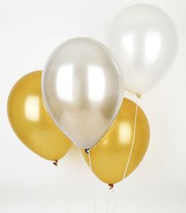 10 Ballons Latex Blancs Métallisés, Dorés, Argent
