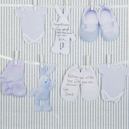 Guirlande livre d'or pour invités Baby Shower ou baptême bleu