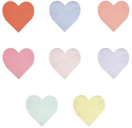 20 Petites Serviettes Coeurs Pastels Acidulés Meri Meri