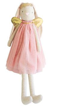 Grande poupée lapin Angel rose pastel ailes dorées Alimrose 70cms