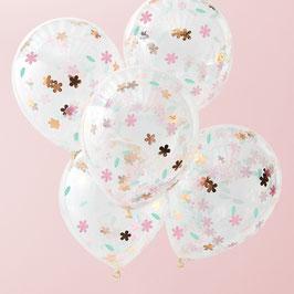 5 ballons confettis fleurs pastels, rose gold