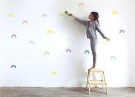 Stickers muraux arc en ciel couleurs Pom le bonhomme