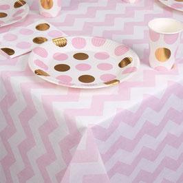 Nappe en papier chevrons rose clairs sur fond blanc 120cmsX180cms