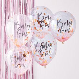 5 Ballons Confettis Baby Girl