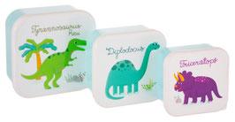 3 Boites à Gouter Dinosaures Pastels