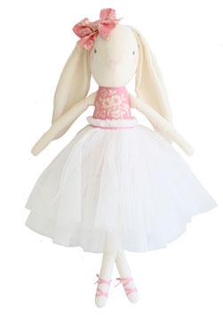 Poupée Lapin fleurs roses et blanches Alimrose