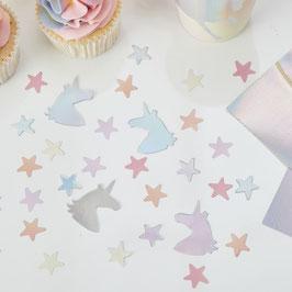 Confettis licornes et étoiles irisés et pastels