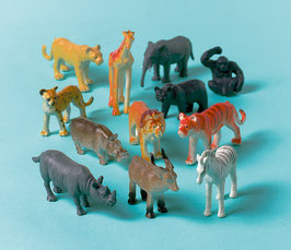 12 figurines petits animaux de la jungle
