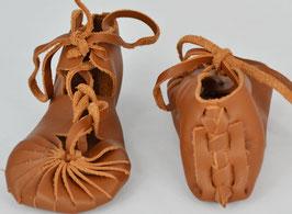 chaussures bébé fille cuir lacées coloris camel foncé