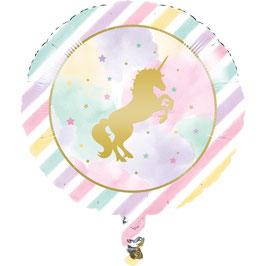 Ballon métallique pastel Licorne