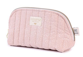 Trousse de toilette Holiday rose pastel pois blancs Nobodinoz