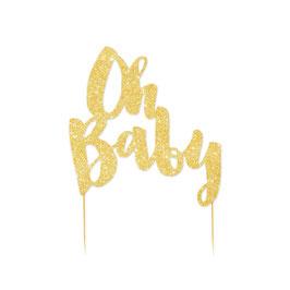 """Décoration gateau """"Oh Baby"""" doré"""