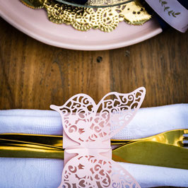 20 Ronds de Serviettes Papillons Rose Pastel