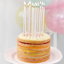 16 longues bougies pastels