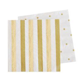 20 petites serviettes rayures et pois or et mordoré