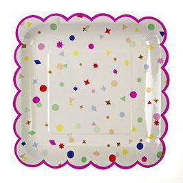 8 Grandes assiettes confettis multicolores meri meri