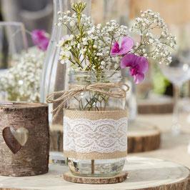 Pot en verre esprit mason jar avec jute et dentelle blanche