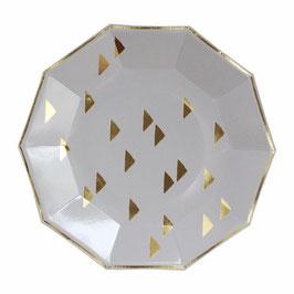 8 grandes assiettes grises avec triangles dorés