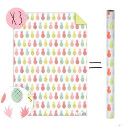 3 feuilles papier cadeau imprimé ananas pastels et fluos meri meri 50cmsX70cms