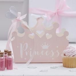 """5 boites en forme de couronne rose avec écriture """"Princess"""""""