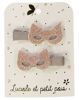 2 Barrettes Masques Rose Gold Clip Taupe