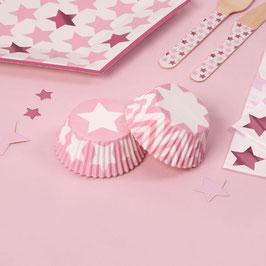100 Caissettes Cupcakes Etoiles et Chevrons Roses