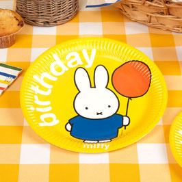 8 assiettes jaunes Miffy Birthday
