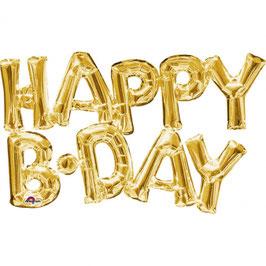 """Ballon métallique doré mot """"Happy bday"""" en majuscule"""
