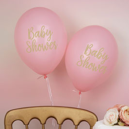 "8 ballons roses écriture ""Baby Shower"""