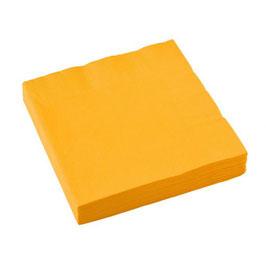 20 serviettes en papier coloris jaune