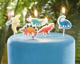 5 bougies Dinosaures multicolores