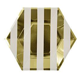8 grandes assiettes rayures dorées Meri Meri