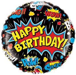 Ballon Super Héros Happy Birthday Noir en Aluminium
