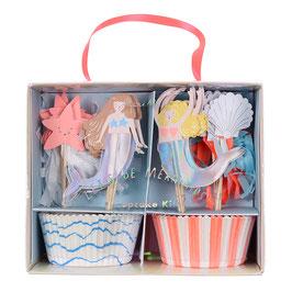Kit cupcake 24 caissettes et 24 décoration gateau anniversaire sirène Meri Meri