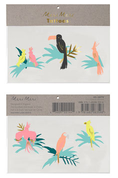 2 Planches de Tatouages Oiseaux Tropicaux Meri Meri