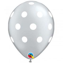 5 ballons gris argent avec pois blancs