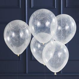5 Ballons Transparents avec Fils d'Ange Argent