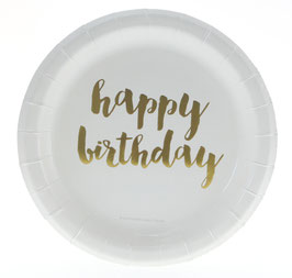 "12 Petites Assiettes Blanches ""Happy Birthday""Doré"