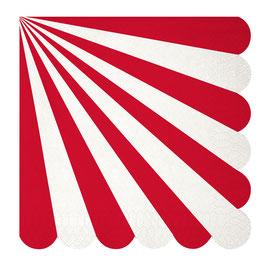 20 grandes serviettes rayures rouge et blanc Meri Meri
