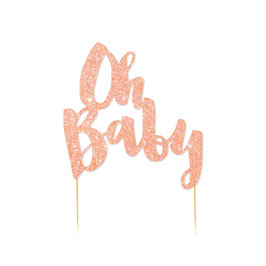 "Décoration gateau ""Oh Baby"" rose gold"