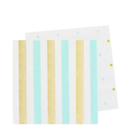 20 petites serviettes avec pois vert menthe et dorés