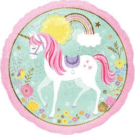 "Ballon métallique pastel Licorne ""Believe in unicorns"""