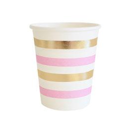 10 gobelets fond blanc rayures dorées et roses
