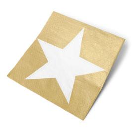20 serviettes fond doré étoile blanche