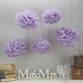 Ensemble de 5 pompons en papier de soie lilas