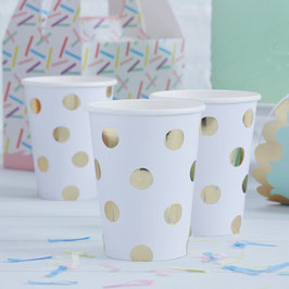 8 gobelets blancs pois or anniversaire pastel mix and match