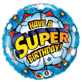 "Ballon rond Super héros ""Have a super birthday"" en aluminium"