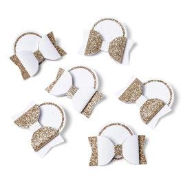 6 petits noeuds papillons adhésifs blancs et or blanc